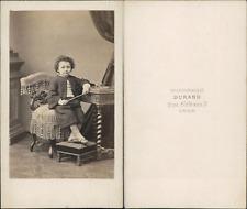 Durand, Lyon, petit garçon aux guêtres Vintage CDV albumen carte de visite