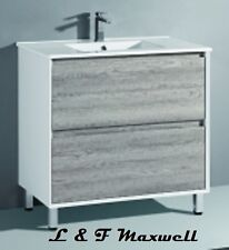 Polyurethane High Gloss Frame and Timberlooking Vanity with Ceramic Basin 900mm