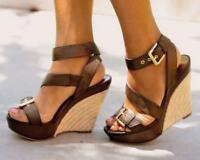 Womens Slingback Buckle Wedge High Heels Sandals Peep Toe Summer Beach Shoes