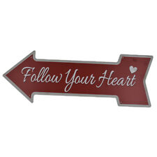 "Shabby Chic Arrow Shape Metal Tin Sign Wall Decor Plaque ""Follow Your Heart"""
