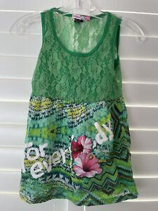 Girls Desigual Green 🟩 Lace Sleeveless Tank Top Size 11/12