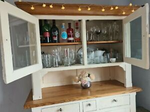 Oak Country Shabby Chic Dresser. Cupboard with display cabinet.  Fixer-uper!