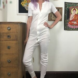 Vintage Hanes Short Sleeve Union Suit, 1970s White Long Underwear Sz 44 L-XL