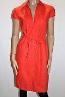 MARKS & SPENCER Brand Orange Cap Sleeve Tie Waist Day Dress Size 10 BNWT #TH61