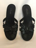 Clarks Slip On Black Sandals Size 9 M Womens Black Slides Comfort Casual shoe
