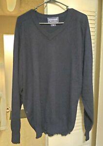 DAVIS & SQUIRE Mens V-Neck 100% Cashmere Sweater Size XL, Dark Navy
