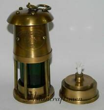 "Antique Brass Green Glass Miners Lamp ~ Miner's Oil Lantern ~ 6"" Mining Lamp"