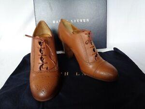 NEW Ralph Lauren Ladies CLARA Shoe Boot BROWN Leather UK 4 EU 37 RRP £480