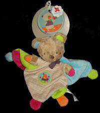 Doudou carré plat Ours marron beige vert bleu violet rose oiseau Nicotoy Simba