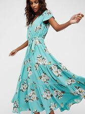 NWT Free People All I Got Floral Printed Maxi Dress Botanical Teal Size 6  $168
