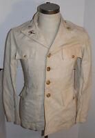 VTG 1930s ROTC UNIFORM JACKET! VPI/VIRGINIA TECH! WHITE COTTON! BRASS BUTTONS! S