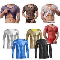 Sexy Mens Mesh T-shirt Gym Training Tank Vest Top Fish Net Sporting Wetlook Crop