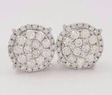 1.25 ct 14K White Gold Flower Cluster Round Cut Diamond Halo Stud Earrings