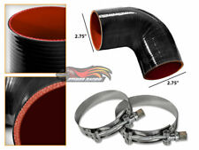 """BLACK Silicone 90 Degree Elbow Coupler Hose 2.75"""" 70 mm + T-Bolt Clamps VW"""