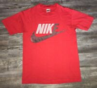 Vintage Men's Nike Gray Tag Thin Red T Shirt Size Medium Made In USA 90s