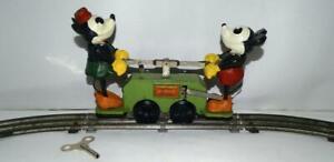 "DISNEY1934 SCARCE GREEN BASE""LIONEL""MICKEY MOUSE HANDCAR SET+SERVICED+TRACK+KEY!"