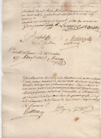 1777 Louis XVI manuscript document with several signatures ROYAL NOTARY, Lords