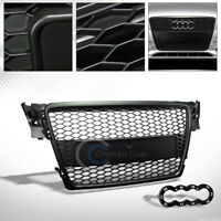 Fit 09-12 Audi A4 B8 Glossy Blk RS-Honeycomb Mesh Front Hood Bumper Grill Grille