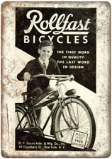 """Rollfast Bicycles Vintage Art Ad 10"""" x 7"""" Reproduction Metal Sign B454"""