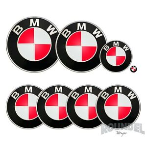 For BMW Badges - Neon Red - All Models Decals Wrap Sticker Overlay Wrap