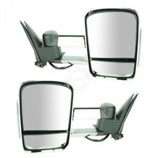 Towing Mirrors Manual Smoked LED Signal Dual Arm Chrome Pair for Chevy GMC