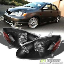 Black 2003-2008 Toyota Corolla Replacement Headlights 03-08 Headlamps Left+Right