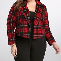 Torrid Plaid Print Red Black Wool Moto Jacket Cropped Fit 3X 22 24 3 #32943