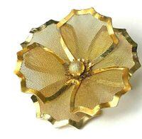 Gold Mesh Flower Brooch 1950s Vintage for Men or Women Lapel Pin Jewelry