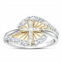 Two Tone 925 Silver White Topaz Cross Women Wedding Ring Jewelry Gift Size 6-10