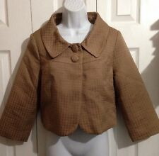 H&M Light Brown Houndstooth Cropped Swing Jacket MEDIUM Size 10 Retro Style