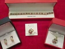 NEW Macy's 4-pc Gemstone & 18KT Gold-Plated Set: Pendant/Earrings/Ring/Bracelet