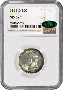 1958 D 25C Silver Washington Quarter NGC MS67+ CAC Gem Uncirculated Toned Coin