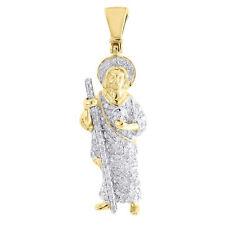 Diamond Jesus Pendant Mens 14K Yellow Gold Round Pave Staff Charm 0.47 Tcw.