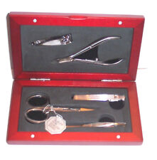 Kingsley, KM-31 MEN'S TRAVEL KIT - 5pc. Manicure Grooming Set in Wood Case, DOPP