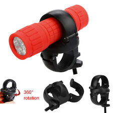 MTB Bike LED Front Flash Light Torch Lamp Mount Clip Holder Bracket 360° Rotatio