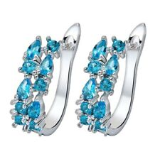 Newest Flower Titanic Ocean Blue Topaz Gemstone Silver Woman Stud Hook Earrings