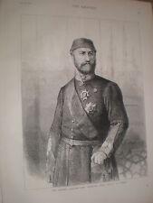AbdulAziz khan Sultan of Turkey 1876 old print ref V