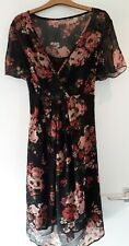 South Sheer Chiffon Maternity Dress And Slip, Black, Pink Floral, 14 Exc Con