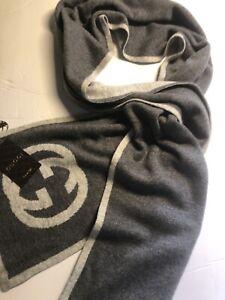 Gucci Scarf GG Interlock G Maglia Cashmere Knit Dark Grey Long Scarf, Italy