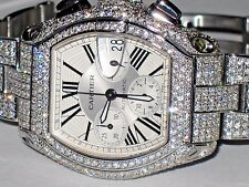Mens Cartier Roadster XL Chronograph Diamonds Everywhere