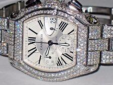 Mens Cartier Roadster XL Chronograph Diamonds Everywhere