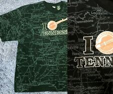 Tennessee All Over Print Black Graphic Tee T-Shirt Vintage Vtg Iron On Size Xl