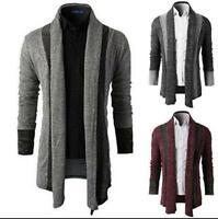 New Men's Sleeve Fashion Knitted Cardigan Jacket Slim Long Casual Sweater Coat