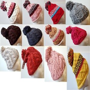 Cable Knitted Bobble Hat Plain Mens Womens  Beanie Warm Winter Pom Wooly Cap