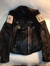 "Bike Week Leather Jacket Medium Woman's Patches Black 32-40"" waist 42"" Chest"