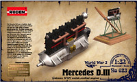 Roden 623 - Engine Mercedes D.III For Airplanes - 1/32 Scale Model Kit 34 mm