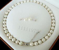 schön 8mm AAA+ Weiß-Südsee Shell Perlenkette Ohrringe 46cm