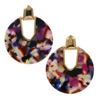 YX112 Tortoise Shell Acetate Oval Disc Earrings Designer Inspired 9 Colors