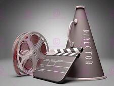 Photo Film Director Equipment Clapperboard Reel Megaphone Canvas Art Print