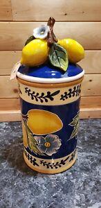 Blue Sky Heather Goldmine Lemon Cannister-Large Ceramic